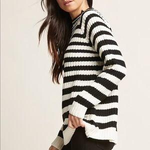 Black/white striped knit sweater